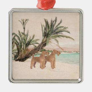 On a Palmy Seashore Metal Ornament
