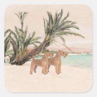 On a Palmy Seashore Square Sticker