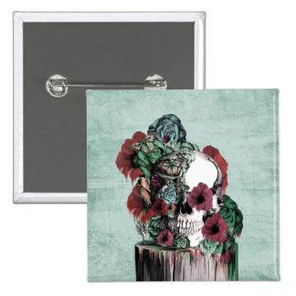 On a pedestal, melting rose skull 2 inch square button