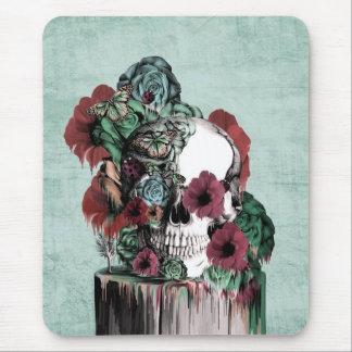 On a pedestal, melting rose skull mouse pad