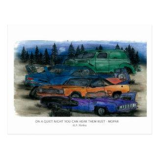 ON A QUIET NIGHT YOU CAN HEAR THEM RUST - MOPAR w- Postcard