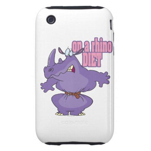 on a rhino diet dieting humor cartoon tough iPhone 3 case