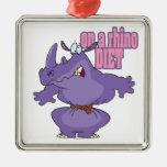 on a rhino diet dieting humor cartoon christmas ornament