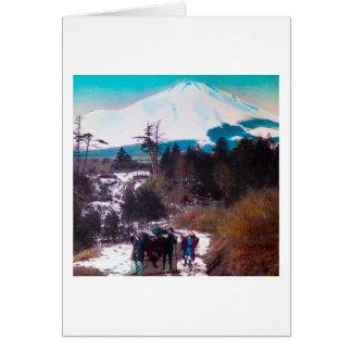 On a Winter Road Beneath Mount Fuji Vintage Japan Card