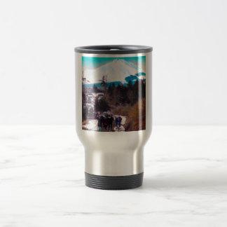 On a Winter Road Beneath Mount Fuji Vintage Japan Travel Mug