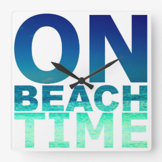On Beach Time Blue & Turquoise Typography Clock