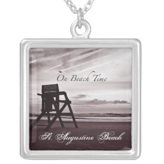 On Beach Time Lifeguard Chair Necklace
