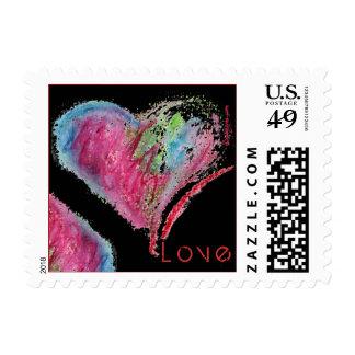 On Black LOVE Hearts Design Small Postage