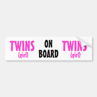 On Board - Girl Twins Bumper Sticker
