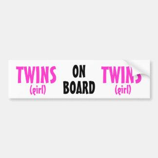 On Board - Girl Twins Car Bumper Sticker