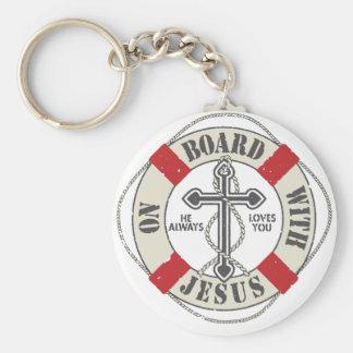 On Board With Jesus Keychain