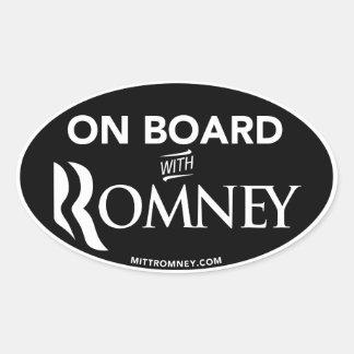 On Board With Mitt Romney 2012 Oval Sticker Black