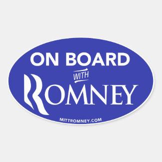 On Board With Mitt Romney 2012 Oval Sticker (Blue)