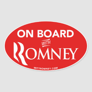 On Board With Mitt Romney 2012 Oval Sticker (Red)