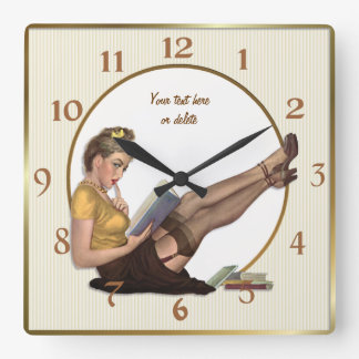 On Break Pin Up Librarian - Customize Square Wall Clock