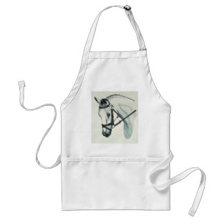 On Contact WHITE Dressage Horse Adult Apron