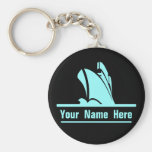 On Course Personalized Keychain Black and Aqua