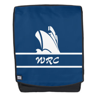 On Course White on Blue Monogrammed Backpack