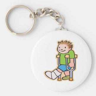 On Crutches Basic Round Button Keychain