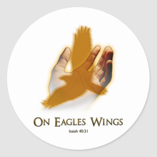 On Eagles Wings Round Stickers
