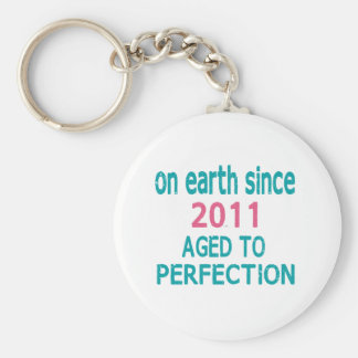 On earth since 2011 aged to perfection basic round button keychain