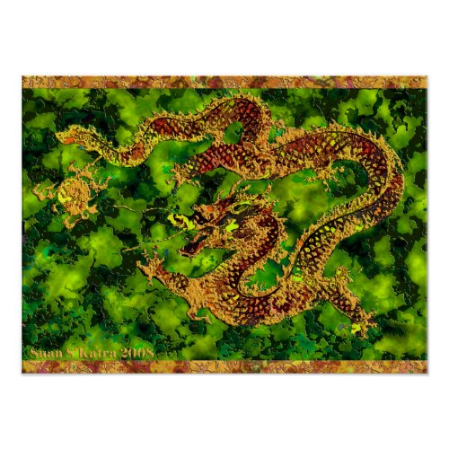 On Emerald Flames Poster print