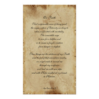 """""""On Faith"""" Parchment-style Poetry Poster"""