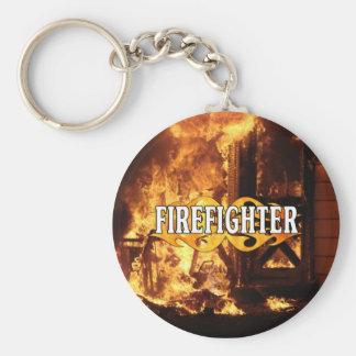 On Fire Basic Round Button Keychain