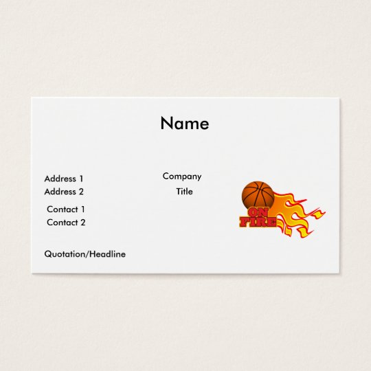on fire basketball business card