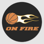 On Fire Basketball Classic Round Sticker