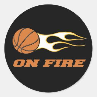 On Fire Basketball Classic Round Sticker