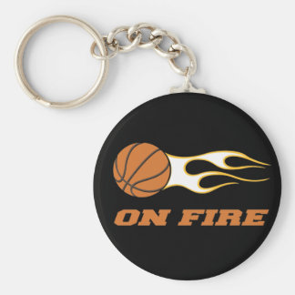 On Fire Basketball Keychain