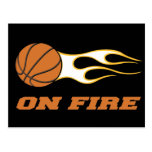On Fire Basketball Post Cards