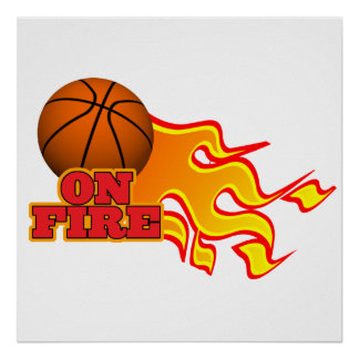on fire basketball posters