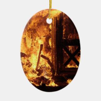 On Fire Ceramic Ornament
