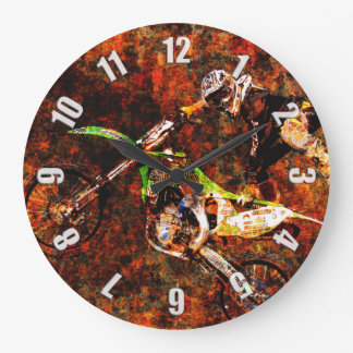"""""""On Fire"""" Freestyle Motocross Rider Large Clock"""