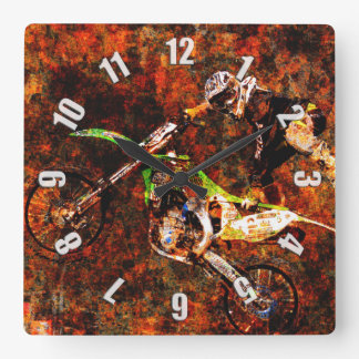 """""""On Fire"""" Freestyle Motocross Rider Square Wall Clock"""