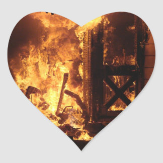 On Fire Heart Sticker