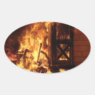 On Fire Oval Sticker