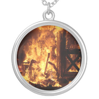 On Fire Round Pendant Necklace