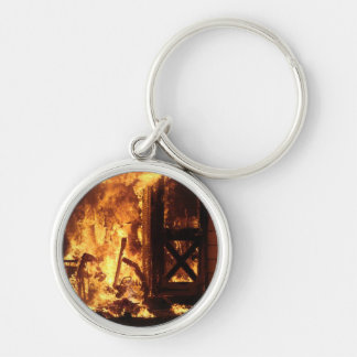 On Fire Silver-Colored Round Keychain
