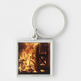 On Fire Silver-Colored Square Keychain