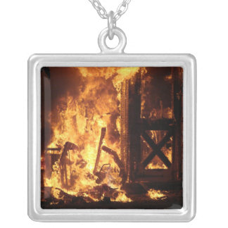On Fire Square Pendant Necklace