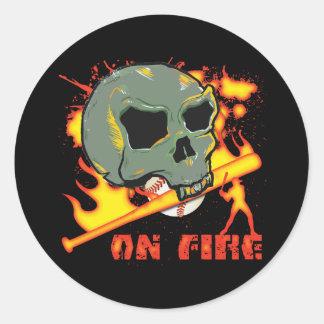 ON FIRE ROUND STICKER