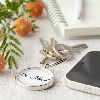 On Fleek Cursive Writing Stylish On Point Perfect Silver-Colored Round Keychain