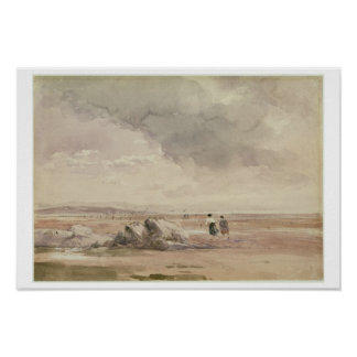 On Lancaster Sands, Low Tide, c.1840-47 (w/c, pen Poster