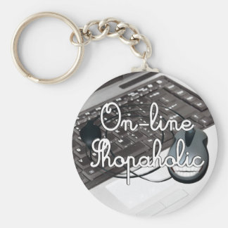 On-Line  Shopaholic Basic Round Button Keychain