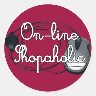 On-Line  Shopaholic Classic Round Sticker