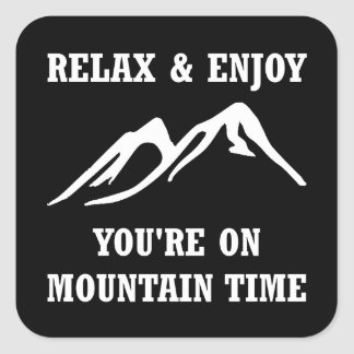 On Mountain Time Square Sticker