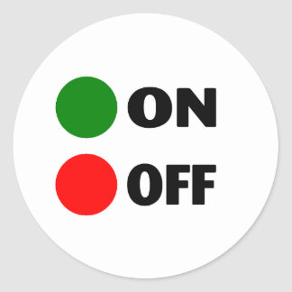 On Off Classic Round Sticker
